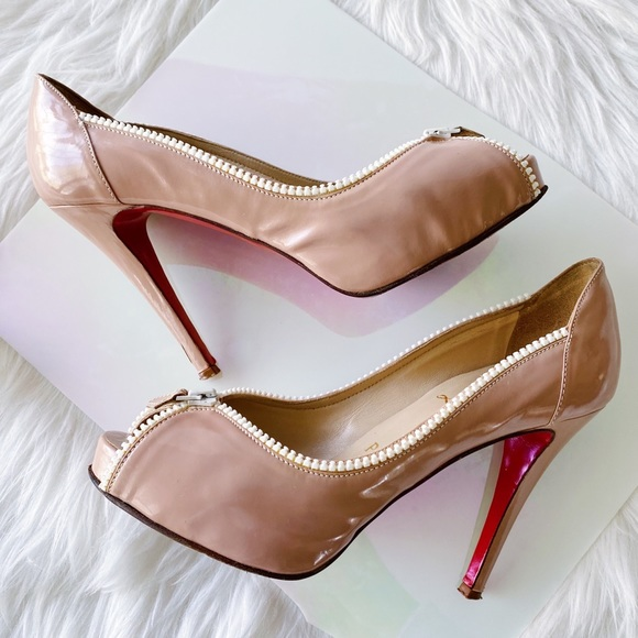 Christian Louboutin Nude Caracolo Patent Pumps